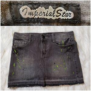 Imperial Star Gray Jeans Paint Splat Skort